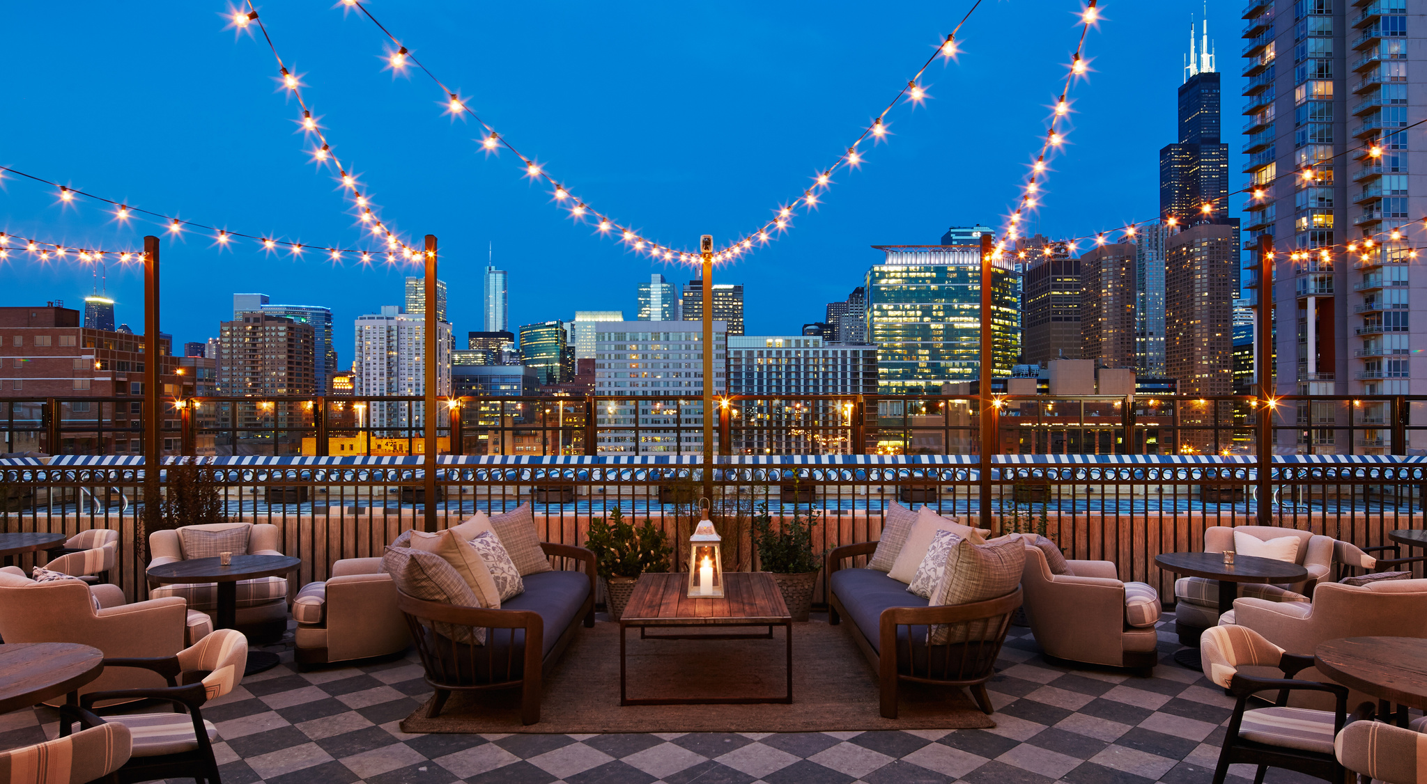 LED Bistro Patio Lights on building top