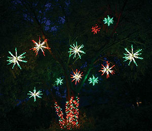 LED Starbursts in tree