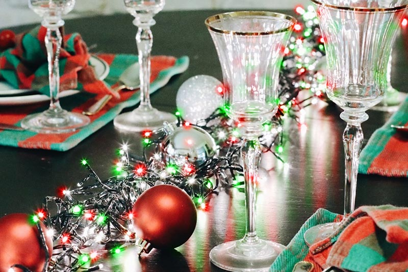 christmas table setting with LED cluster lights