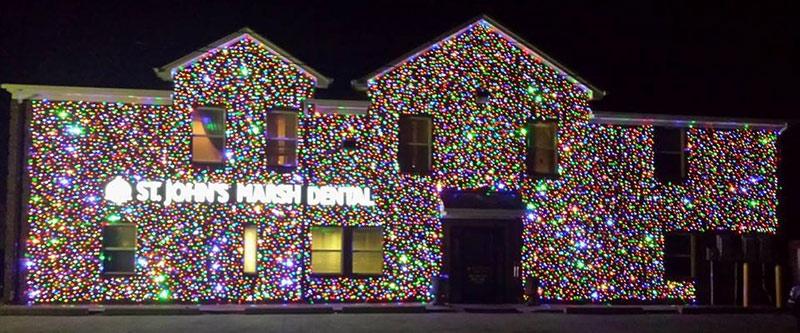 wall of christmas lights